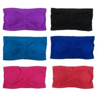 Women 6 Pack Assorted Color Reg Size Padded Tube Top Bandeau Bras