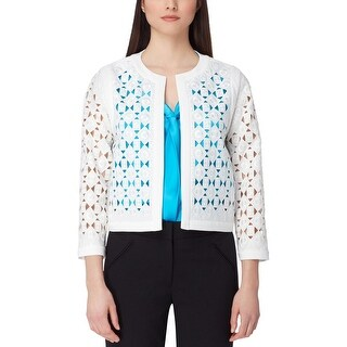 Tahari ASL Womens Petites Collarless Blazer Long Sleeves Office Wear