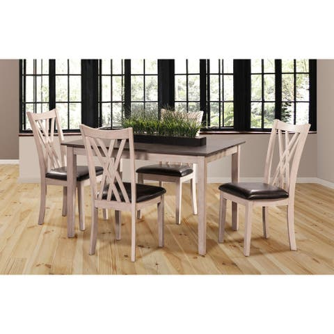 Paige 5-pc Farmhouse Dining Set, Brown/Creme, Dining Height, by New Classic Furniture