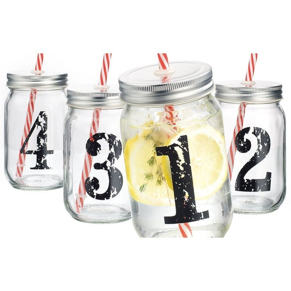 Palais Mason Jar Tumbler Mug with Stainless Steel Lid and Decorative Straws - 15 Ounces - Set of 4 (Numbered 1-2-3-4 W/ Candycan