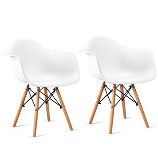 Costway Set of 2 Mid Century Modern Molded Dining Arm Side Chair Wood Legs White New