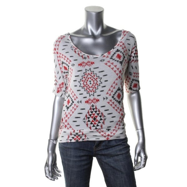 Rebellious One Womens Juniors Pullover Top Aztec Print Open Back