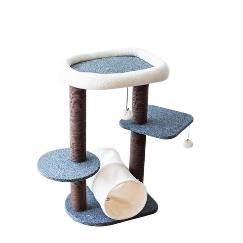 Catry Cat Tree Cat Tower for Activity with Tunnel and Toy Ball, Gray