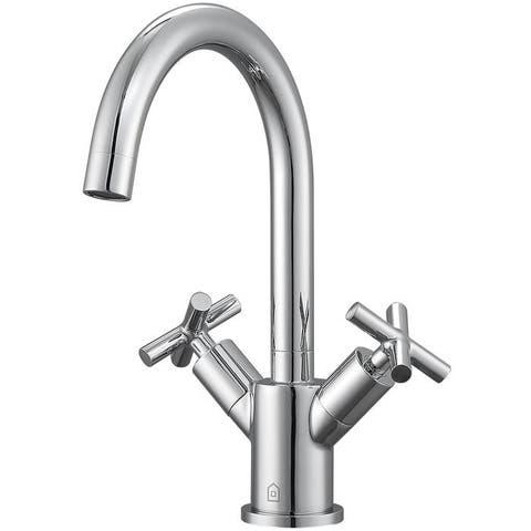 Ancona Ava Series Single Hole Cross Handle Bathroom Faucet in Chrome Finish