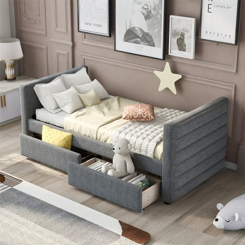 Modern Linen Upholstered Twin Daybed With Two Drawers