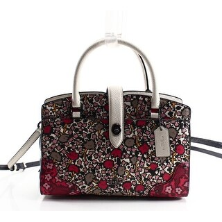 Coach NEW Red Floral Printed Leather Mercer 24 Nickel Satchel Bag Purse