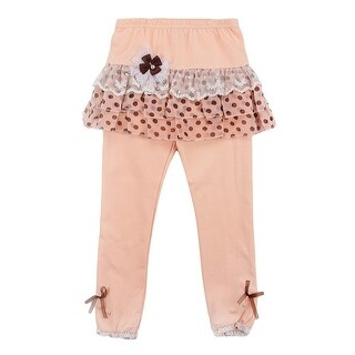 Richie House Little Girls Peach Chocolate Bow Accent Skirted Tights 2-6