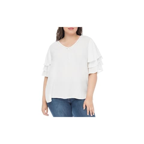 Bobeau Womens Plus Clare Pullover Top Embroidered Tiered Sleeves