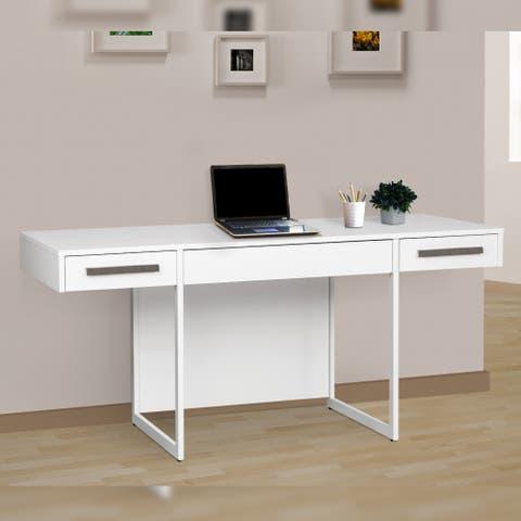 Uzziah Miami White Wood Grain 64.5-inch Manager Desk