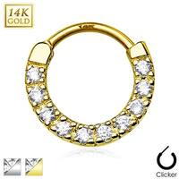 Ten Paved CZ Single Line 14Kt Gold Septum Clicker (Sold Individually)