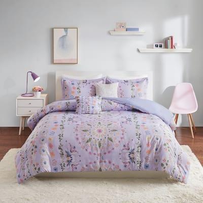 Intelligent Design Thea Purple Printed Comforter Set