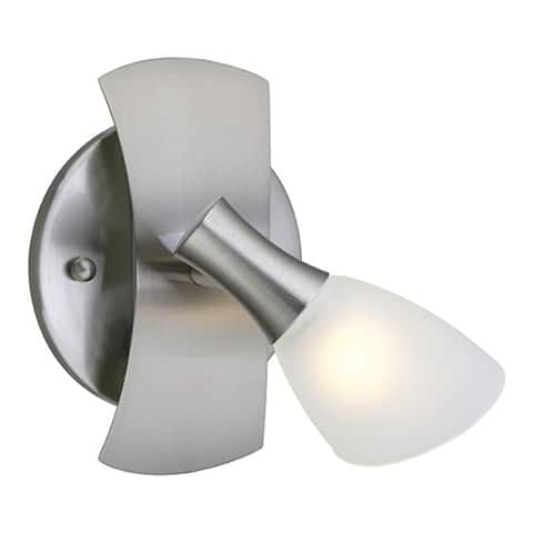 Eglo Ona 1 Matte Nickel 1-Light Wall Sconce with White Glass