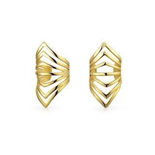 Bling Jewelry Gold Plated Silver Modern Chevron Geometric Ear Cuffs Wrap