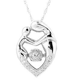 Mother and Child Dancing Diamond Pendant and Necklace Set 18inch 1/8cttw (i2/i3, I/j)