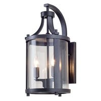 "DVI Lighting DVP4472 Niagara Outdoor 2-Light 14-3/4"" Tall Wall Sconce - hammered black/clear - n/a"