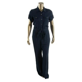 DKNY Womens Jumpsuit Satin Collared