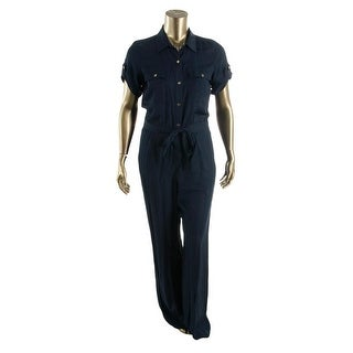 DKNY Womens Satin Collared Jumpsuit