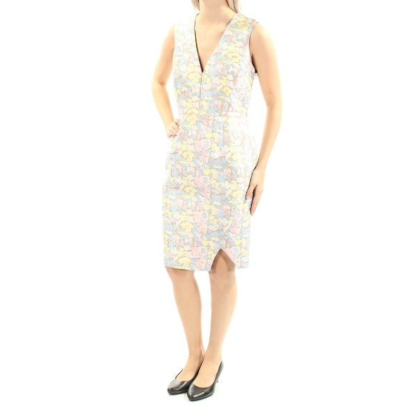 610c5bcaa75f7 Shop CALVIN KLEIN Womens Beige Textured Floral Sleeveless V Neck Knee  Length Sheath Dress Size  4 - Free Shipping On Orders Over  45 -  Overstock.com - ...