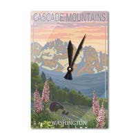 Cascade Mountains WA Bears Spring Flowers LP Art (Acrylic Wall Clock) - acrylic wall clock