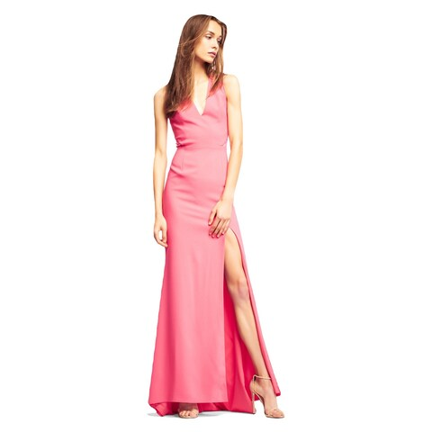 Aidan Mattox Dress Sleeveless Crepe Mermaid Gown with V-Neckline