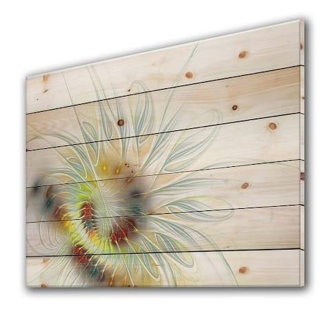 Designart 'Floral Fractal III' Modern Print on Natural Pine Wood