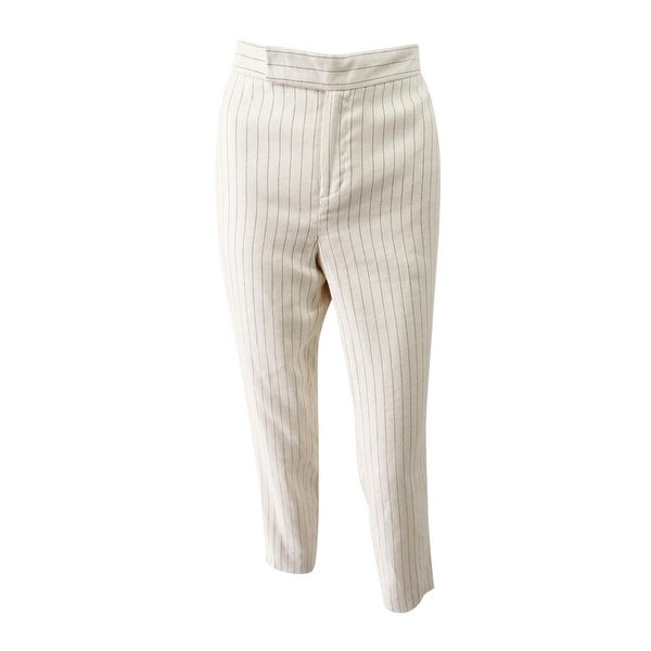 bb657bfd3164 Shop Lauren Ralph Lauren Women's Pinstriped Twill Skinny Pants -  White/Black - On Sale - Free Shipping Today - Overstock - 24151638