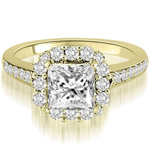 1.42 cttw. 14K Yellow Gold Halo Princess And Round Cut Diamond Engagement Ring