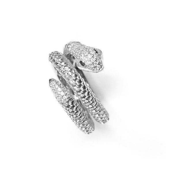 925 Sterling Silver Snake Wrap Ring with Clear and Black Cubic Zirconia