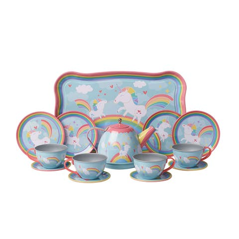 """Unicorn Play Tea Set - Child Size Teacups, Saucers, and Serving Tray - 9"""" tray, four 3.5"""" plates - 9 in. x 12 in. x 3.5 in."""