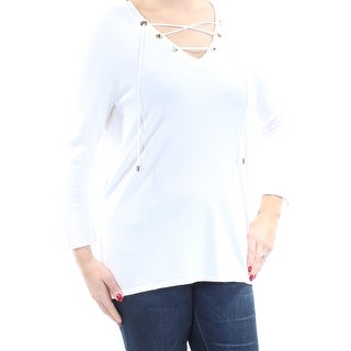 Womens White 3/4 Sleeve V Neck Casual Sweater Size L