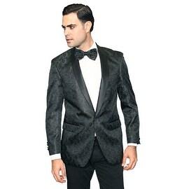 MZS-230 Black Men's Manzini White Woven with Black satin Collar sport coat