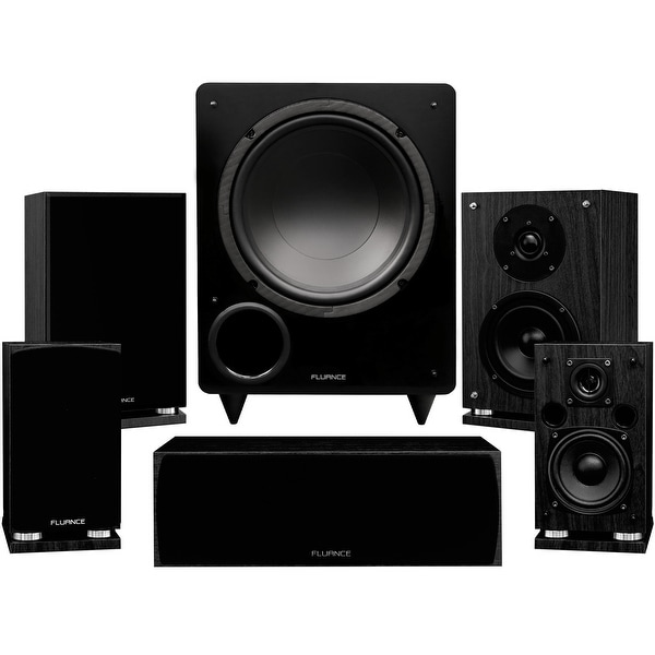 Fluance Elite Series Compact Surround Sound Home Theater 5.1 Channel System - Black Ash (SX51BC)