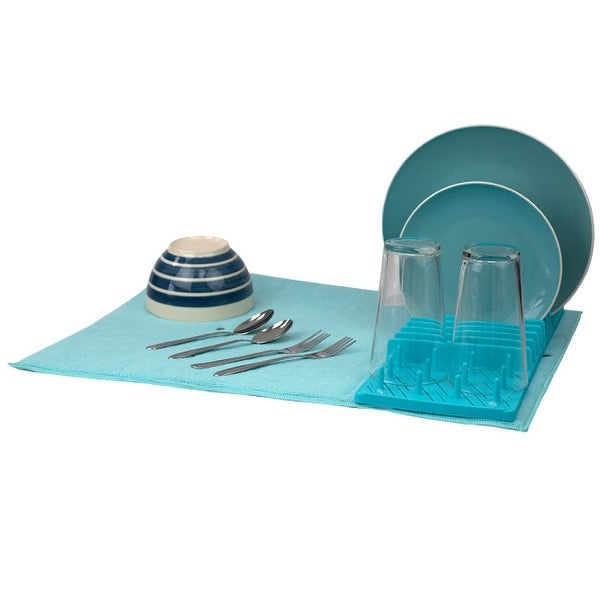 Plastic Dish Drying Rack with Buttoned Micro Fiber Mat, Turquoise