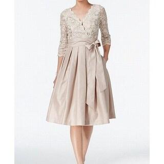 Jessica Howard Womens Lace Taffeta A-Line Dress