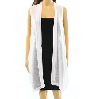 Alfani NEW White Bright Women's Size Medium M Open Front Vest Sweater