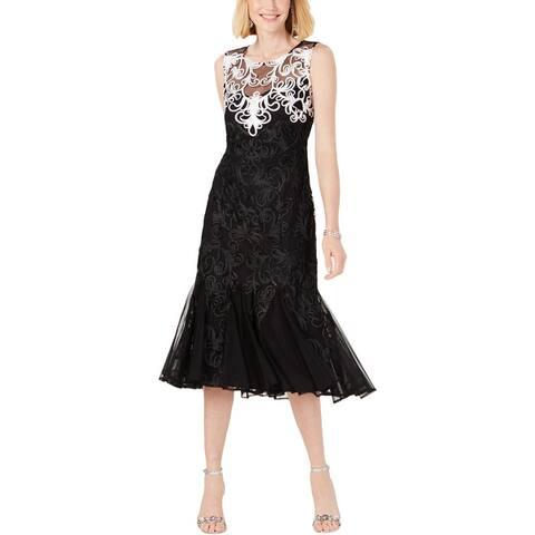 R&M Richards Womens Cocktail Dress Illusion Applique - Black/White