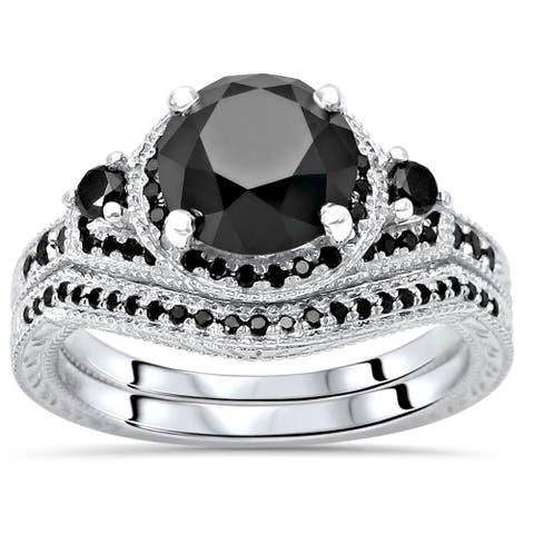 14k White Gold 2 & 1/6ct Black Round Diamond Halo Engagement Ring Bridal Set