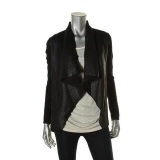 Michael Kors Womens Faux Leather Drape Front Cardigan Sweater - XS
