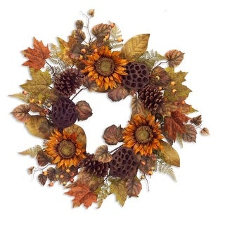 """24"""" Autumn Harvest Orange and Brown Natural Sunflower Fall Foliage Artificial Thanksgiving Wreath"""