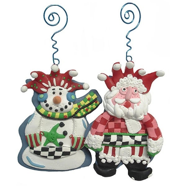 Set of 4 Artistic Snowman & Santa Claus Christmas Ornaments #21968