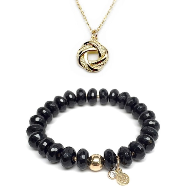 "Black Onyx 7"" Bracelet & Love Knot Gold Charm Necklace Set"