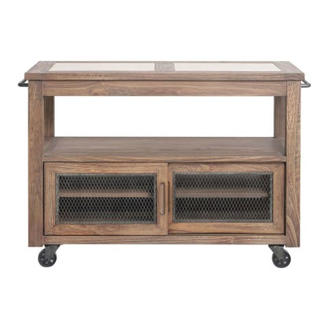 "Uttermost 25339 Wallace 48"" Wide Farmhouse Pine Kitchen Island with Chicken Wire Accent, Travertine Tile Top and Casters"