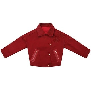 Richie House Little Girls Red Lace Golden Snaps Short Twill Coat 3-7