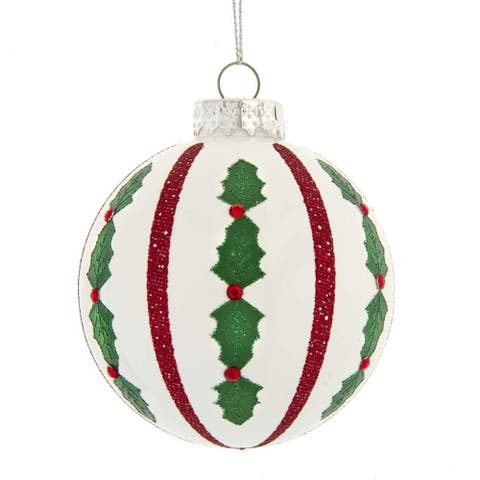 Kurt Adler 80MM Red and White Holly Leaf Glass Ball Ornaments, 6-Piece Set