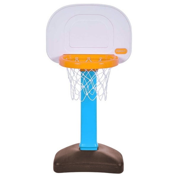 Gymax Basketball Set Basketball Hoop Toy Height Adjustable Backboard With Base Blue - as pic