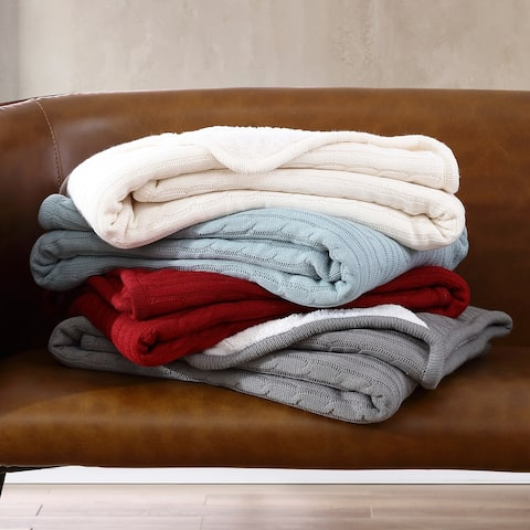 Brielle Home? Cozy Cable Knit Reversible Sherpa Throw