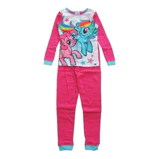 Hasbro Girls Pink White My Little Pony Print Short Sleeve 2 Pcs Pajama Set
