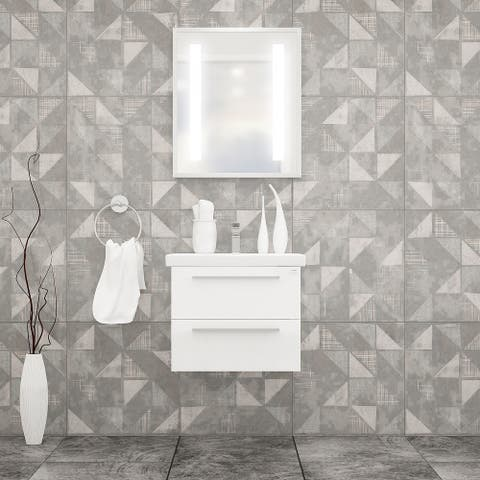 """Elke 32"""" Bathroom Vanity and Ceramic Sink with LED Mirror"""