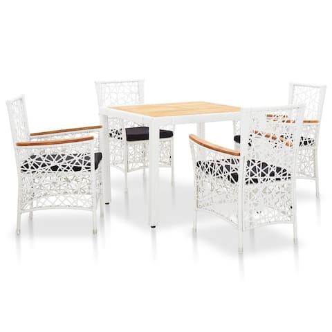 vidaXL 5 Piece Outdoor Dining Set Poly Rattan White