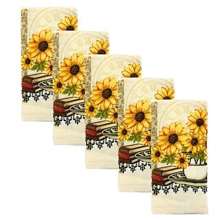 Kitchen Collection 5-Piece Daisy Bouquet Towel Set, Cream, 15x25 Inches